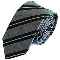 Corbata de Fabio Farini rayado en rayas gris negro
