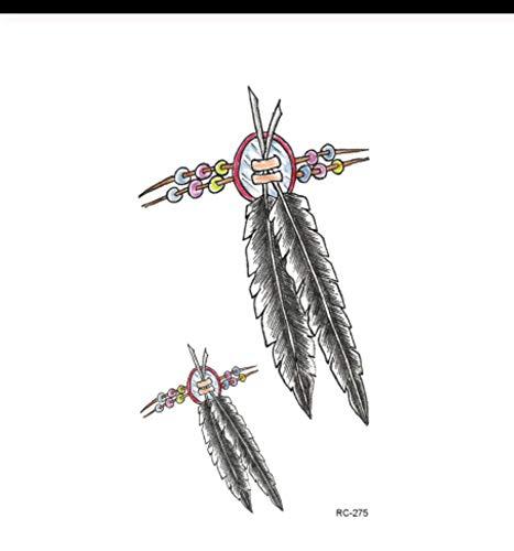 LFVGUIOP wasserdichte gefälschte Tätowierungs-Aufkleber Retro Weinlese-Retro hängende Feder-Entwurfs-Körper-Kunst-temporärer Tätowierungs-Aufkleber Halloweens PCS 4