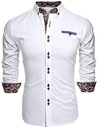 Coofandy Chemise Homme Manche Longue Coton de Marque Col Italien Boutonné Casual Mode ,Blanc,3XL