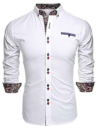 Coofandy Camicia Uomo Manica Lunga Slim Vintage No Cappuccio Estiva Fashion Bianco S