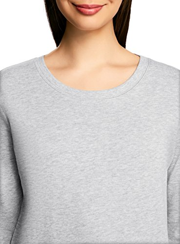 oodji Ultra Femme Sweat-shirt Droit Basique Gris (2000M)