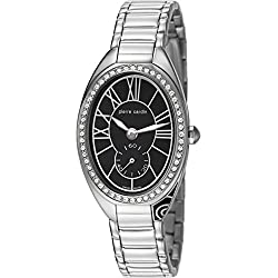 Pierre Cardin Merveille Women's Quartz Watch with Black Dial Analogue Display and Silver Stainless Steel Bracelet Swiss Made-PC105992S06