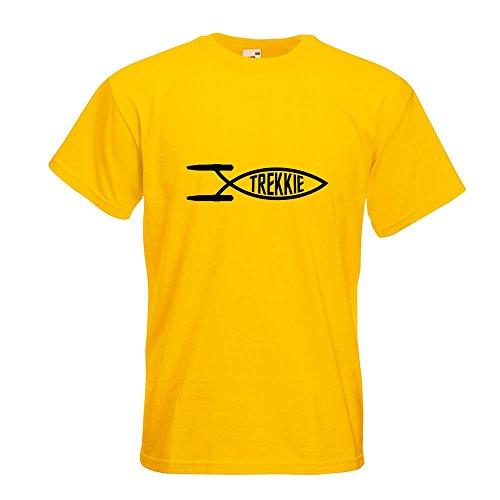 KIWISTAR - Trekkie Fisch T-Shirt in 15 verschiedenen Farben - Herren Funshirt bedruckt Design Sprüche Spruch Motive Oberteil Baumwolle Print Größe S M L XL XXL Gelb