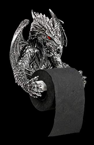 Drachen Toilettenpapierhalter silber - Deko Figur