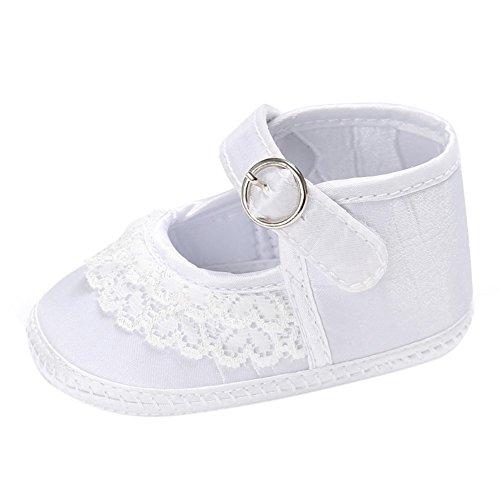 MiyaSudy Chaussures Enfant En Bas âge Bébés Filles Princesse Coton Dentelle Douce Sole Plates Lit Pour 0-18 Mois Blanc