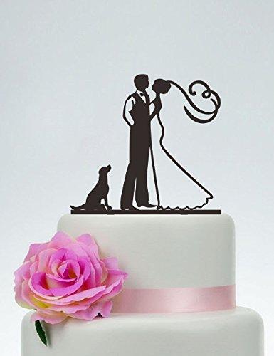 qidushop Bräutigam und Braut mit der Hund Custom Hund Paar Silhouette Acryl Personalisierte Hochzeit Kuchen Topper Herr Frau Silhouette Braut und Bräutigam Hochzeit Geschenk -
