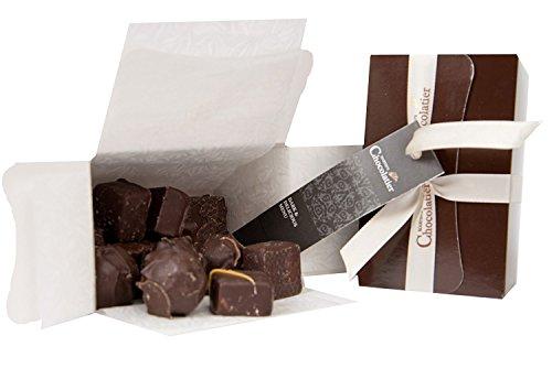 Schokoladengeschenk - Ballotinschachtel mit 12 dunkeln und köstlichen dunkle Schokolade Pralinen - Hochwertige Schokolade - Luxus-Schokoladen-Geschenkkörbe