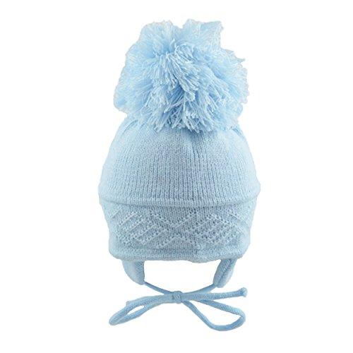 d52d619217e BNWT Baby girls boys unisex pink blue or white warm winte bobble hat (0-3  months