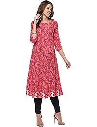 Janasya Women's Cotton Anarkali Kurti