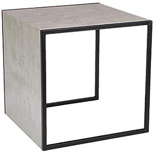 HAKU Möbel 14649 Beistelltisch, Metall, Schwarz-Betonoptik, 45 x 45 x 45 cm