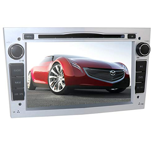 hizpo 7-Zoll-Car-Audio-Stereo-Doppel-Din in Dash für Opel Corsa Vectra Astra-Unterstützung 7 Tastenfarben Lenkradsteuerung GPS-Navigation DVD-Player Bluetooth-Autoradio SD USB Free 8G-Karte (Silber)