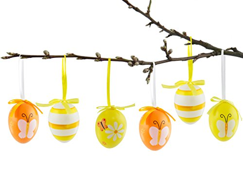 Brubaker set di 24 uova di pasqua in giallo arancia 6,5 cm - decorazioni pasquali da appendere