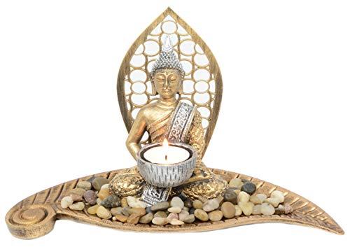Piquaboo Gold Teelichthalter Buddha auf Blatt Höhe 18 cm