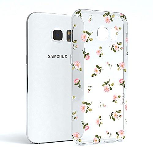 HULI Design Case Hülle für Samsung Galaxy S7 Edge mit Rosen Muster - Handy Schutzhülle Klar aus...