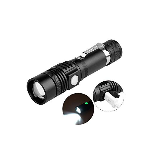 USB Highlight Handy Powerful Alloy Taschenlampe Power Tips Aluminium Wasserdicht Zoomable Mini Flashlight 18650 Wiederaufladbar, WEISS Alloy Handy
