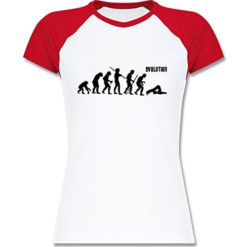 Evolution - Pilates Evolution - zweifarbiges Baseballshirt / Raglan T-Shirt für Damen Weiß/Rot