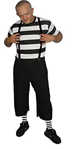 Half Man Costumes - Mens Black & White Pugsley The Addams