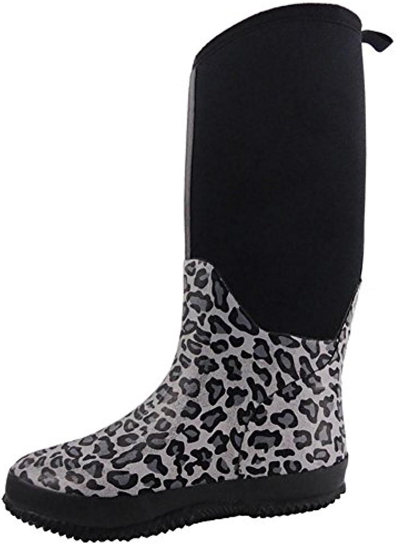 SYYAN Mujeres Paño Impermeable Caucho Antideslizante Respirable Cima mas alta Botas de lluvia Leopardo