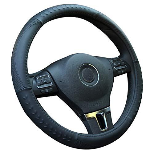 MTH Couvre Volant Voiture,Universel en Cuir 38cm15 inch Auto Accessoirs Respirante Antidérapante Housse Volant pour Voiture/Camion/SUV MTH-35 (Couleur : Black1)