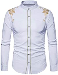 BUSIM Men's Long Sleeve Shirt Slim Solid Color Autumn Casual High Collar Fashion Print Embroidery Trend Personality...