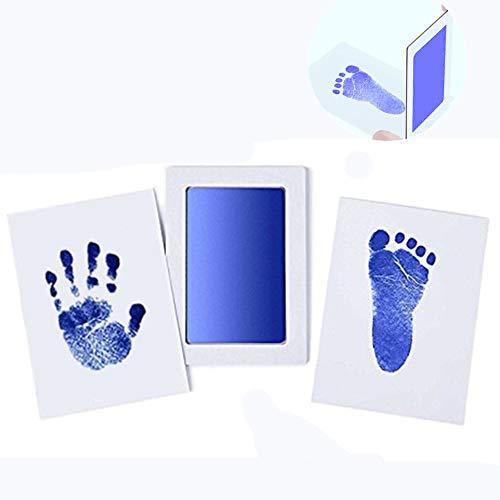 """Große Safe Inkless""""Clean-Touch"""" Handabdruck und Fußabdruck Stempelkissen mit 2 Impressum Karten, 100% ungiftig & Chaos Free Safe für Neugeborene und Kleinkinder (Blau)"""