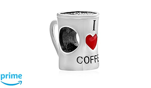 I Love Coffee Cup 925 Sterling Silver Charms European Beads for Snake Chain Bracelets By Sandcastle Charm Jewellery