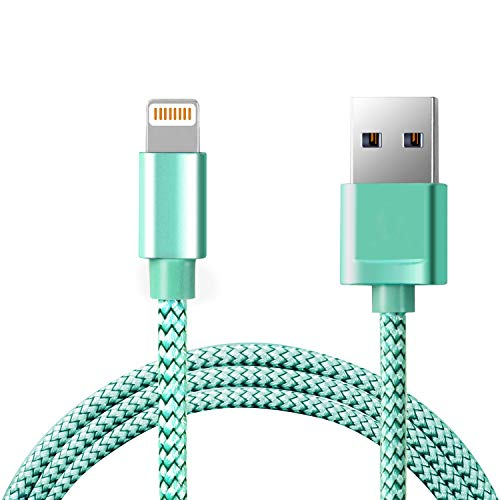 Excellentas iPhon Ladekabel Textil Daten Light Kabel USB kompatibel mit 8 Pin iPhone XS Max, Xr, Xs, X, 8, 8 Plus, 7, 7 Plus, 6s, 6s Plus, 6, 6 Plus, 5s, 5c, 5, SE, iPad Pro, Mini, Air - in Grün - Pod Extender