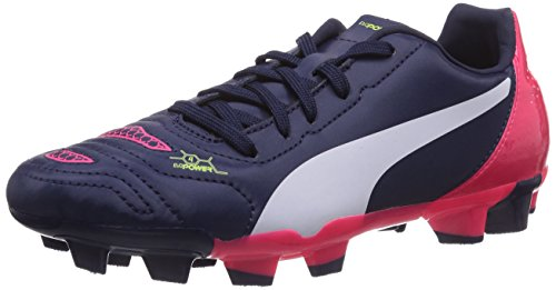 Puma  evoPOWER 4.2 FG Jr, Chaussures de football mixte enfant Bleu - Blau (peacoat-white-bright plasma 01)