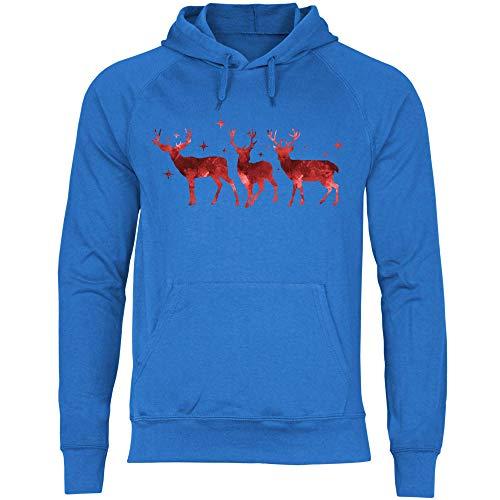 Royal Shirt Herren Hoodie DREI Rentiere, Größe:M, Farbe:Royal Blue