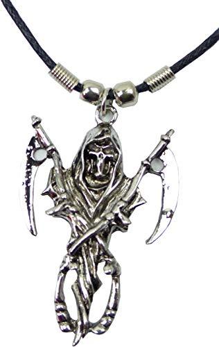 Ketten Sensen-Mann Halskette Leder Halsband mit Skelett Anhänger Death Gothic Punk Rock Evil Wear black Necklace Silver Sword-Scull für Sie und Ihn 5031