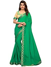 Pratham Blue Women's Georgette Saree with Blouse Piece (Green Free size)