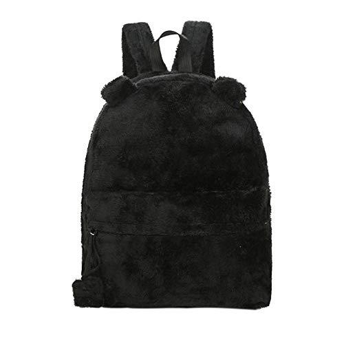 OneMoreT Rucksack mit süßem Bären-Motiv, für Damen, mit Pelz, Plüsch, für Teenager, Laptop, große Tasche, Winter-Reisetasche, Mochila Escolar Schwarz -