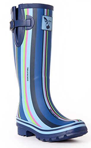 Ladies Evercreatures Multicoloured Knee high Tall Wellies Striped Wellington Boots - (UK 3-8)