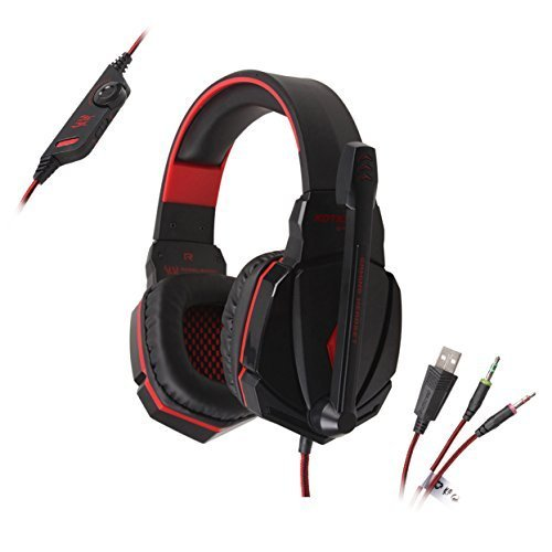 BlueBeach® G4000 3,5 mm Stereo Gaming Kopfhörer Stirnband LED Beleuchtung Über-Ohr mit mikrofon für PC Computerspiel mit Geräuschunterdrückung und ()