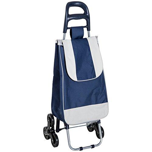 HOMCOM Einkaufstrolley Einkaufsroller Einkaufswagen klappbar mit Treppensteiger Blau 40 x 29 x 95cm