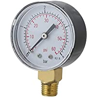 gjghfdhgjgu Práctico Filtro de presión de Agua en el Filtro de Piscina Mini 0-60 PSI 0-4 Montaje en Barra Lateral Rosca de tubería de 1/4 Pulgada NPT TS-50