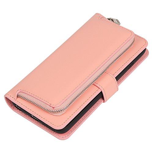 Meimeiwu Hohe Qualität herausnehmbare Schutzhülle - 2 Aufstellmöglichkeiten Schutz Zipper Tasche Holster Hülle und Brieftasche für iPhone 7 - Rot Pink