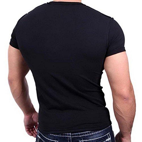 Herren T-Shirt Mix Motive Strass Steine Style Rundhals Kurzarm S M L XL XXL NEU 4305 Schwarz