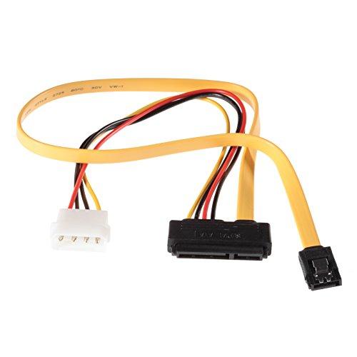 Poppstar 1x Sata 3 HDD SSD Dualkabel (bis zu 6 GBit/s), Y-Kabel Stromadapter - Datenkabel (50cm) und Stromkabel (30cm), für Festplatte, Motherboard, PC Case Modding uvm., gelb