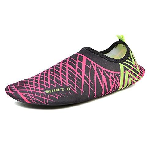 Cool&D Unisex Aquaschuhe Aqua Schuhe Atmungsaktiv Strandschuhe Schwimmschuhe Badeschuhe Wasserschuhe Surfschuhe für Damen Herren Kinder Lila