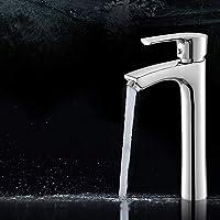 Decck Lavabo de Agua Caliente y fría Grifo Alto Lavabo sobre encimera Lavabo de baño Elevación y Cobre Largo Grifo de un Orificio Grifo Monomando for Lavabo Grifo Mezclador Plateado