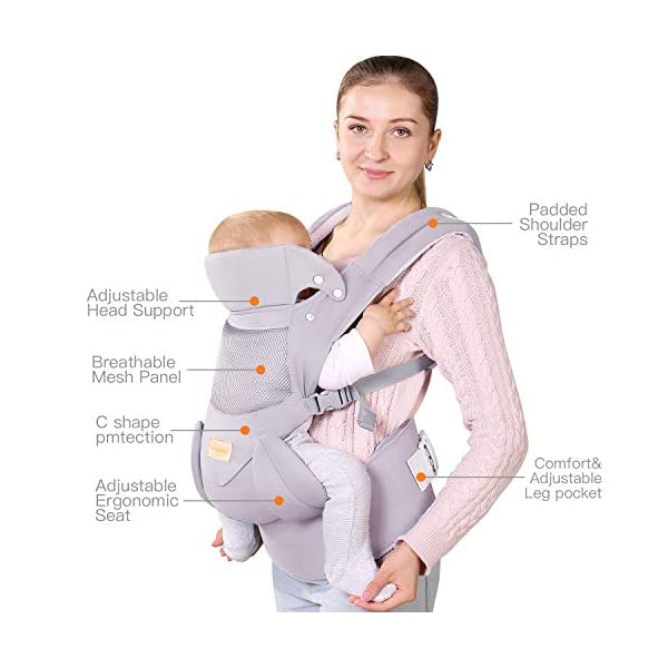 Ergonomic Baby Carrier with Adjustable Hipseat,for M Position,is The Benefits of improving Blood Circulation-Soft Baby Carriers with Front and Back Positions for Infants to Toddlers,Up to 60lbs,Grey tiancaiyiding ❤ Ergonomic Design: Wide and thick backpack straps help relieve stress . Easy to put on or take off. ❤ M shape Position: Stop hurting your baby's legs. Keep blood circulation in normality. ❤ All-round Support: Simple and thus strong structure. 360° wraps the baby against falling out. Collapsible hood for wind and sun protection 4