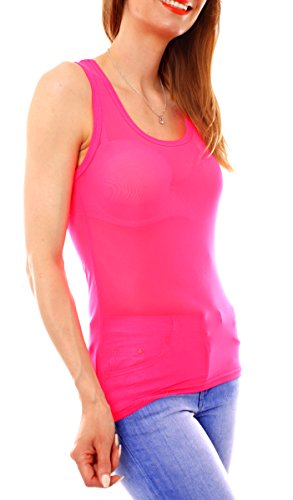 Easy Young Fashion Damen Top Tanktop Trägertop Mesh Netz transparent One Size Pink