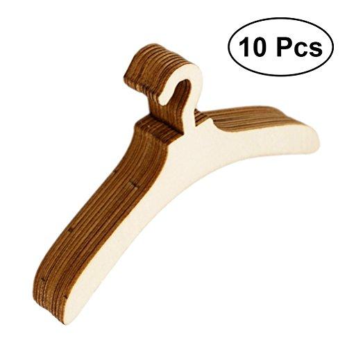 ROSENICE Mini Percha de Ropa de Madera muñeca accesorio ropa capa abrigo organizador para niños proyectos de artesanía 10pcs