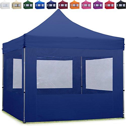 TOOLPORT Faltpavillon Faltzelt 3x3m - 4 Seitenteile ALU Pavillon Partyzelt blau Dach 100{1d112de0001627a3af16c678eafa4365b83a017022bd553c28ac4b15f362b218} WASSERDICHT