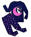 Tkiames Mädchen Pyjama Giraffe Langarm Baumwolle Schlafanzug Set Nachtwäsche Nachtwäsche Gr. 2-3 Jahre, Moon Cat