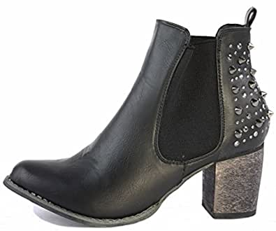 3a428250df780 Runway9 Style 22 Black Faux Leather Size 3 - Ladies Womens Chunky Cleated  Sole Block Mid