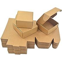 Enerhu 50pcs Caja de Regalo Cuatro Tamaños Cajas de Papel Kraft para Jabón Cajas de Pastel Envoltura de Postre S