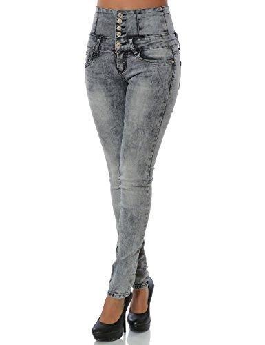 Damen Jeans Hose Skinny (Hochschnitt Röhre) No 14081 Grau