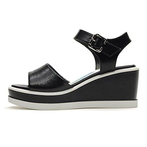 Moderne Damen Römische Stil Keilabsatz Dicke Boden Aufzug Gummi Sohle Anti-Rutsch Plateau Flach Klettverschluss Lässige Schuhe Sandalen Schwarz